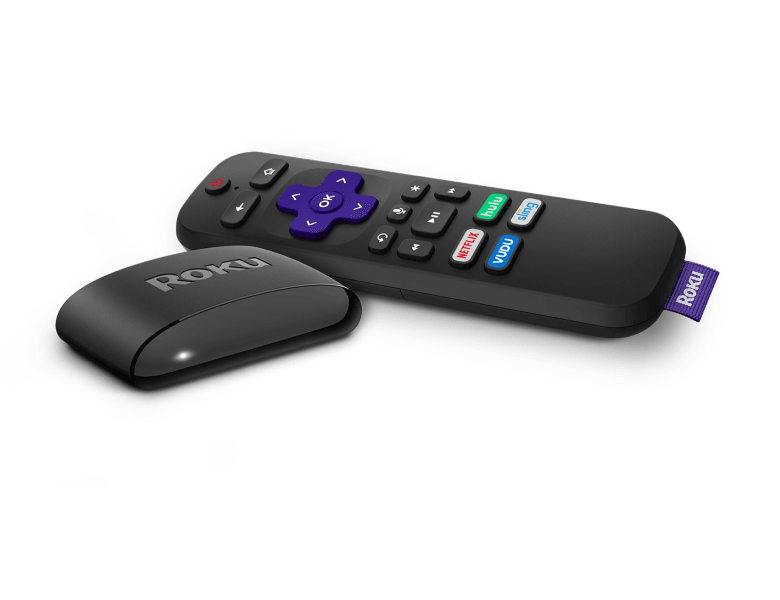 Look before you buy: Roku Express+ at an angle with Voice Remote