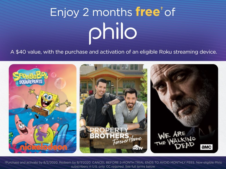 Enjoy 2 months free* of Philo Subhead:  A $40 value, with the purchase and activation of an elig...