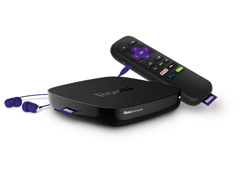 Roku Premiere+ player, remote, and headphones