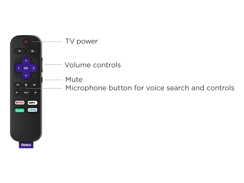 Voice remote with TV power, volume, and mute buttons that's included when you buy Roku TV Wireless Speakers