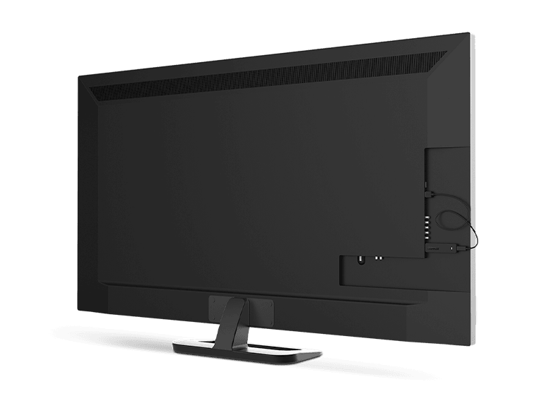 Roku® Streaming Stick® player being plugged into a back of a tv to demonstrate it's great for mounting