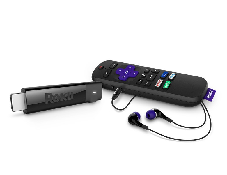 Look before you buy: Roku Streaming Stick Plus Headphone Edition at an angle with Enhanced Voice...