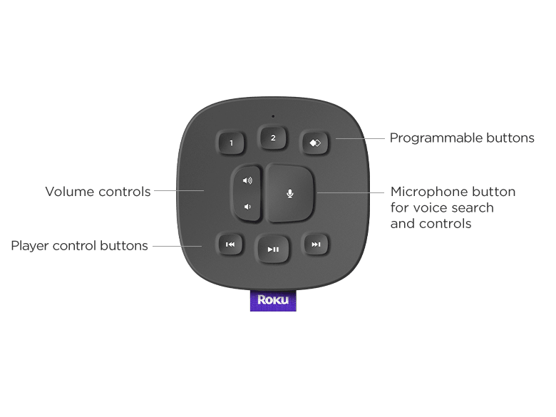 Roku Touch Tabletop voice remote that's included when you buy Roku TV Wireless Speakers