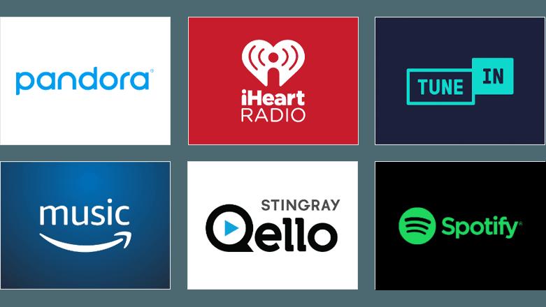 Pandora, iHeart Radio, Tune In, Amazon Music, Stingray, and Deezer logos