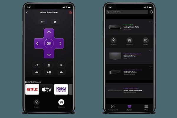 Roku App on mobile phone