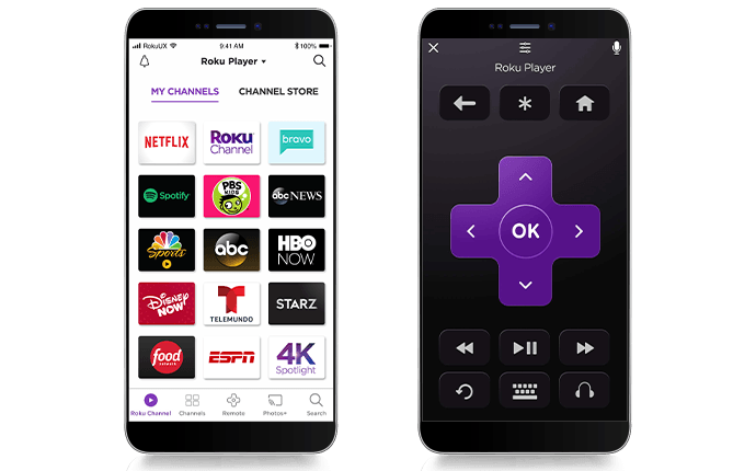 Images of the free Roku mobile app on smart phone
