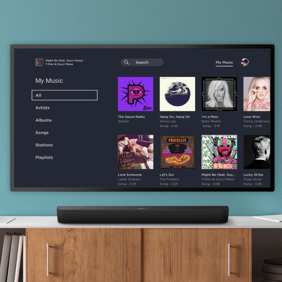 Image of music options to stream free or buy on Roku Smart Soundbar