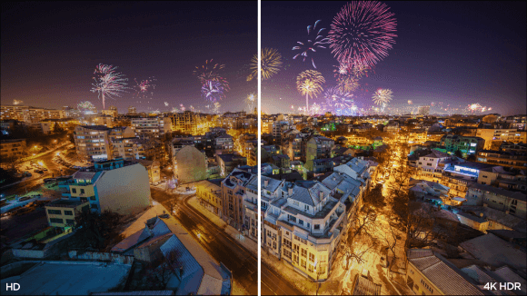Split image of a city to illustrate the difference between HD and 4K picture quality