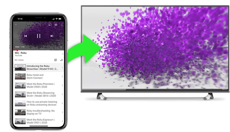 How Do I Cast Apps Like Youtube Or Netflix From My Phone To My Tv Official Roku Support