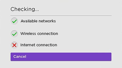 Checking the connection message - red x on internet connection