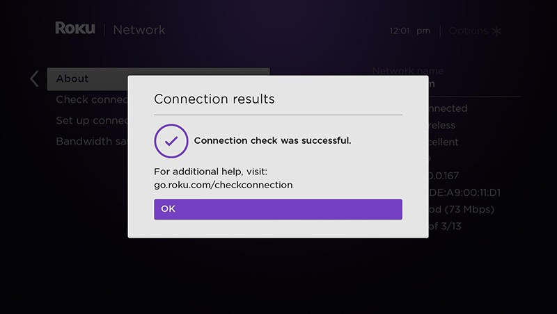 Connection results message - Connection check was successful